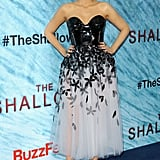 Wearing a Carolina Herrera dress to the world premiere of The Shallows in 2016.