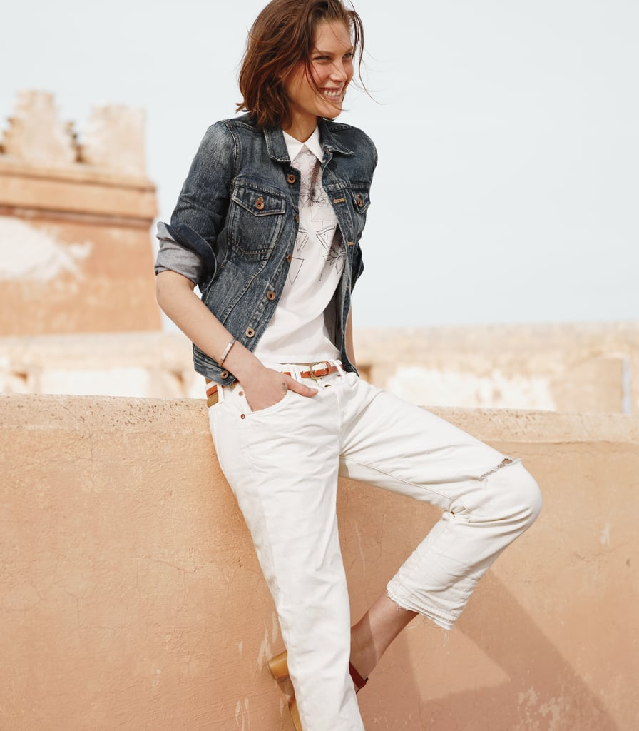 We found the perfect slouched fit in Chimala's handmade white denim ankle jeans.