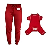 Matching Human and Dog Red Thermal PJ Holiday Set