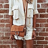 White Denim Shorts, a Silk Button-Down, and a Shoulder Bag