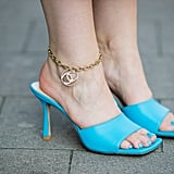 These bright blue Bottega heels will catch anyone's eye.