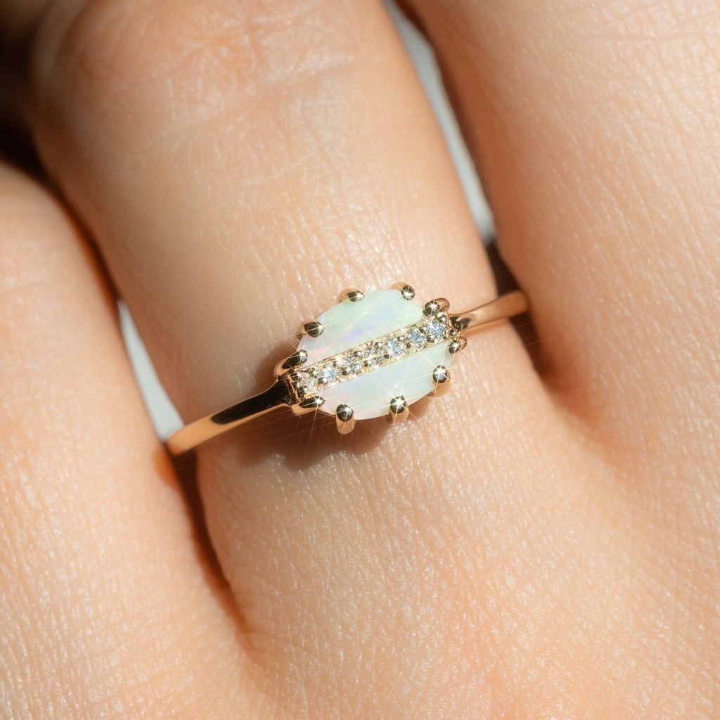 Tropics Ring With Opal in Yellow Gold