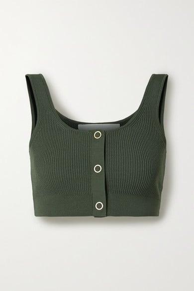 Dion Lee Pinnacle Cropped Ribbed-Knit Top
