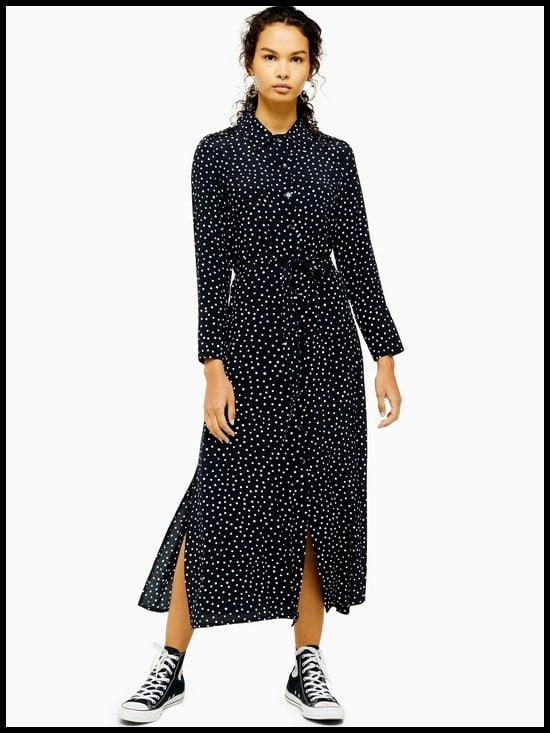 Topshop Spot Print Open Back Shirt Dress