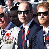 Prince Charles sat with his two sons, William and Harry, as they attended a commemoration ceremony at the Canadian National Vimy Memorial in Vimy, near Arras, northern France, in April.