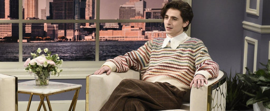 Timothée Chalamet Dressed in Gucci as Harry Styles on SNL
