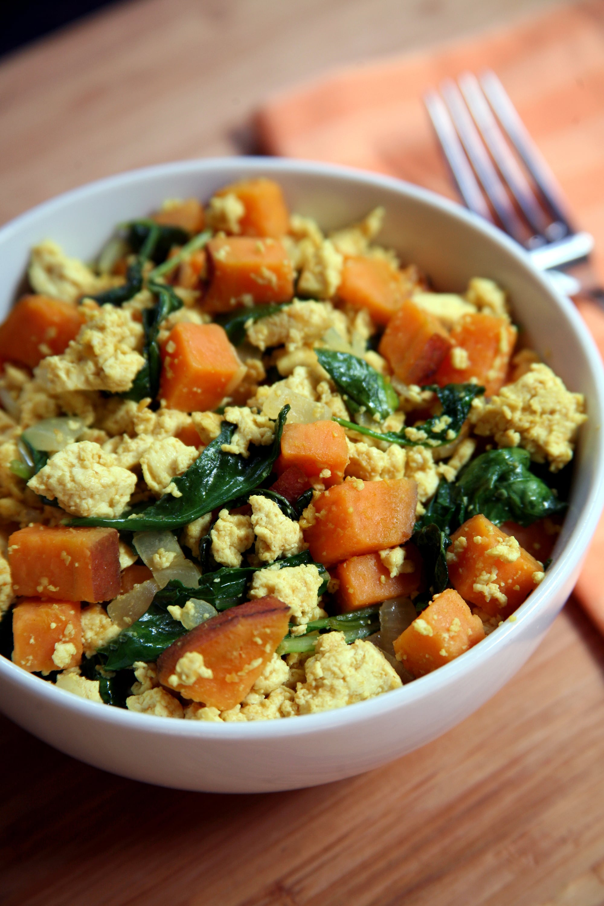 Protein Packed Breakfast Tofu Scramble With Kale And Sweet Potatoes