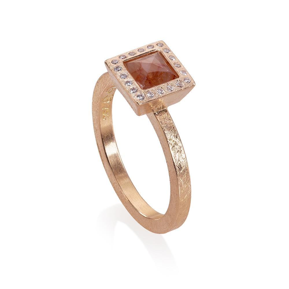 Diamond Geometric Engagement Ring in Rose Gold