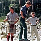 Prince William and Prince Harry took a walk with their dad on the Balmoral Estate in Scotland in August 1997.