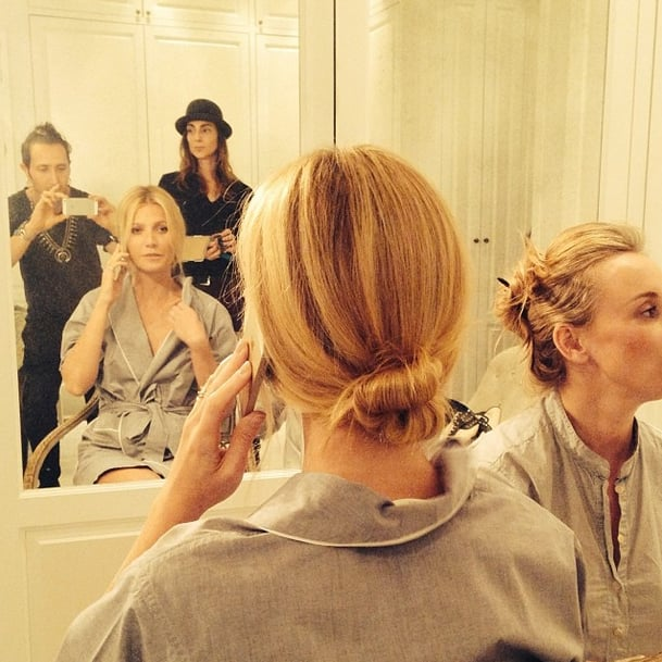 Hairstylist Adir Abergel snapped Gwyneth Paltrow's elegant chignon  before the Golden Globes. Source: Instagram user hairbyadir