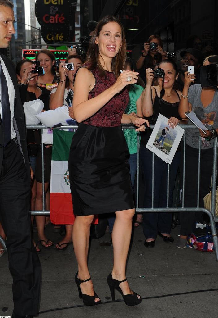 Jennifer Garner had a smile on her face as she headed into Good Morning America.