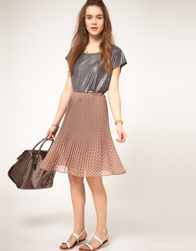 What can we say — the fit on this everyday skirt is pretty awesome.  A| Wear Pleat Midi Skirt With Polka ($72)