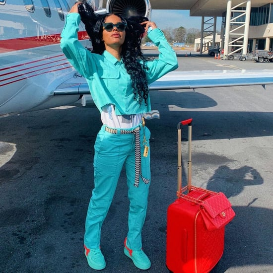 Teyana Taylor Wears Blue 2-Piece Set With Red Chanel Luggage