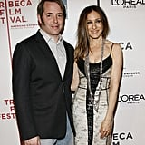 Matthew Broderick and Sarah Jessica Parker cozied up to each other at the eighth annual Tribeca Film Festival Wonderful World premiere in April 2009.