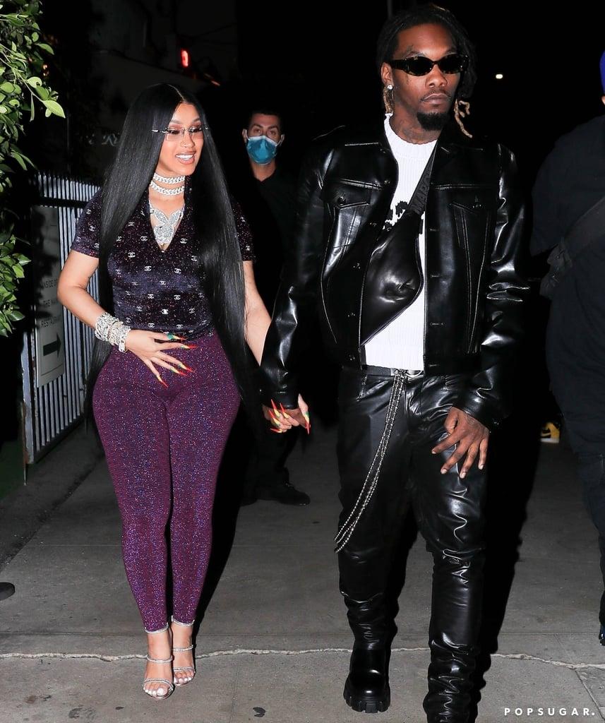 Cardi B Wears a Chanel Glitter Top and Leggings on Birthday