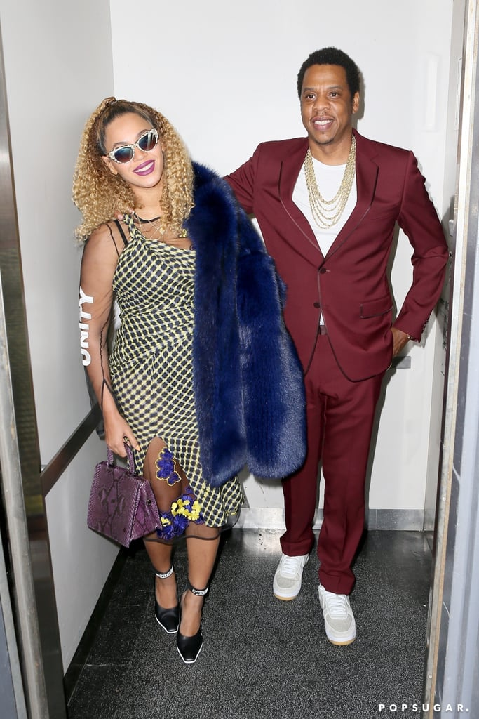 "JAY-Z celebrated his 48th birthday in NYC on Monday with a fancy date night with wife Beyoncé Knowles. The rapper, who suited up in a slick maroon ensemble, happily smiled for the cameras with Beyoncé, who put her curves on display in a checkered dress and Versace heels that had ""Unity"" written on them. The couple also gave a nod to their infamous 2014 elevator fight with Beyoncé's sister, Solange, by posing in an elevator as they left the Angelika Film Center for a private screening of Wonder Wheel, which stars their friend Justin Timberlake. Keep reading for more photos of their glam night out, then see more of their sweetest moments this year.      Related:                                                                                                           After 12 Years of Marriage, Beyoncé and JAY-Z Are Still Crazy in Love"
