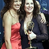 Debra Messing and Megan Mullally at the 2000 Emmy Awards