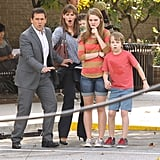Jennifer Garner, Steve Carell, Kerris Dorsey, and Ed Oxenbould teamed for a dramatic scene on the set of Alexander and the Terrible, Horrible, No Good, Very Bad Day on Monday.