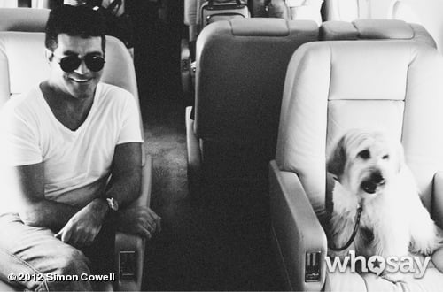 Simon Cowell traveled in style with Pudsey the Dog. Source: Simon Cowell on WhoSay