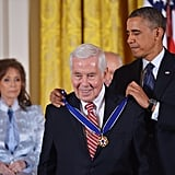 Obama awarded a medal to former Senator Richard Lugar of Indiana.