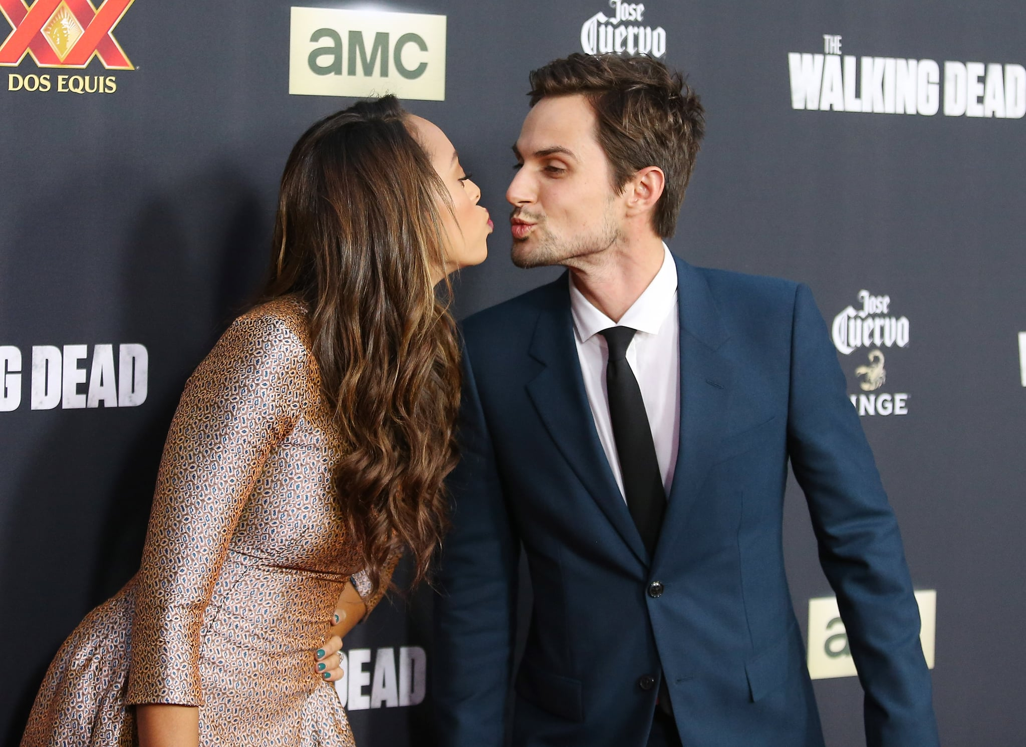 UNIVERSAL CITY, CA - OCTOBER 02:  Amber Stevens (L) and actor Andrew J. West arrive at AMC's