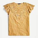 J. Crew Embroidered Eyelet Flutter-Sleeve T-Shirt