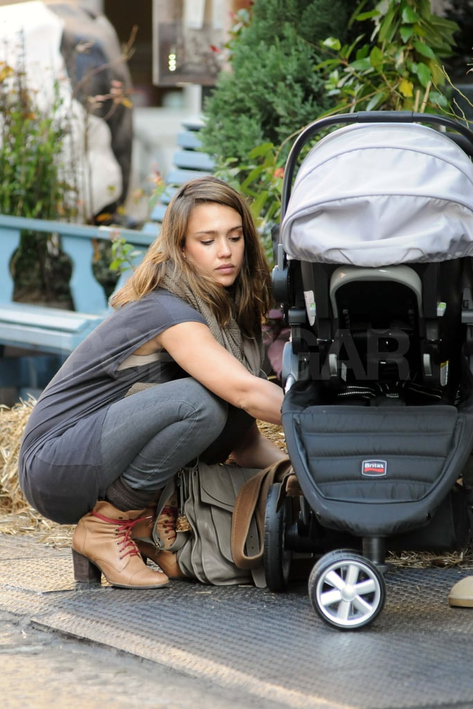 Jessica Alba out with baby Haven in NYC.