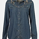 Put a polished spin on your cowgirl-inspired wares. The neutral-toned embroidery gives this denim topper its softer appeal. Topshop Moto Lolita Embroidered Western Shirt ($72)