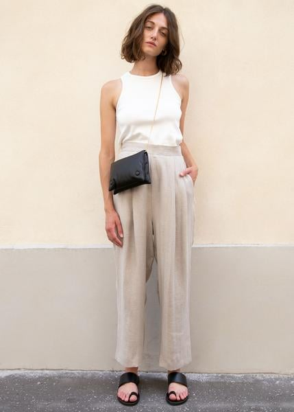 Herringbone Linen Pleated Pants in Rice Paper