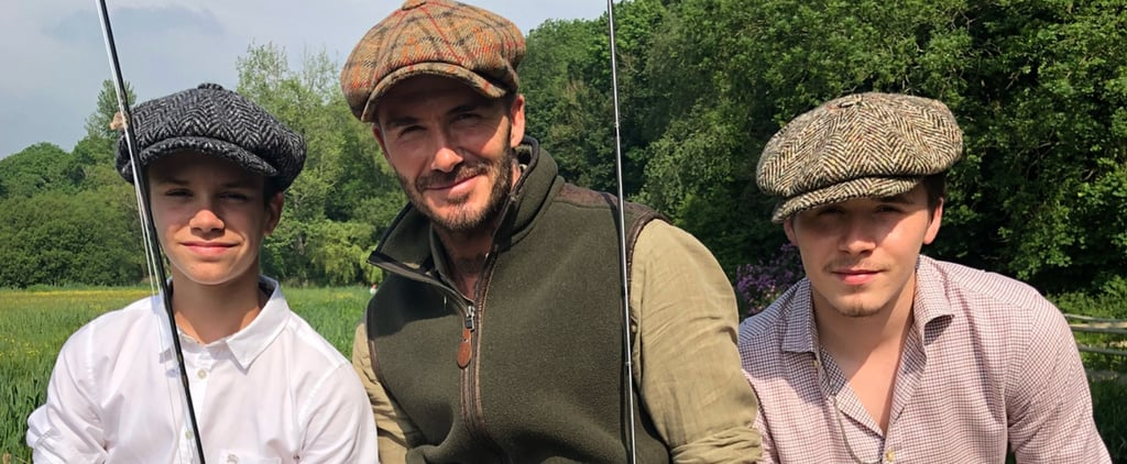 David Beckham Fishing With Brooklyn and Romeo