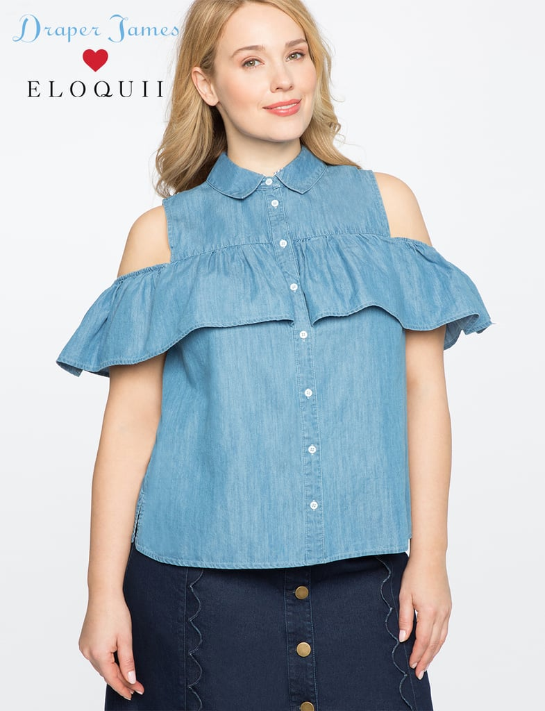 Draper James for EloquiiI Cold-Shoulder Button Down