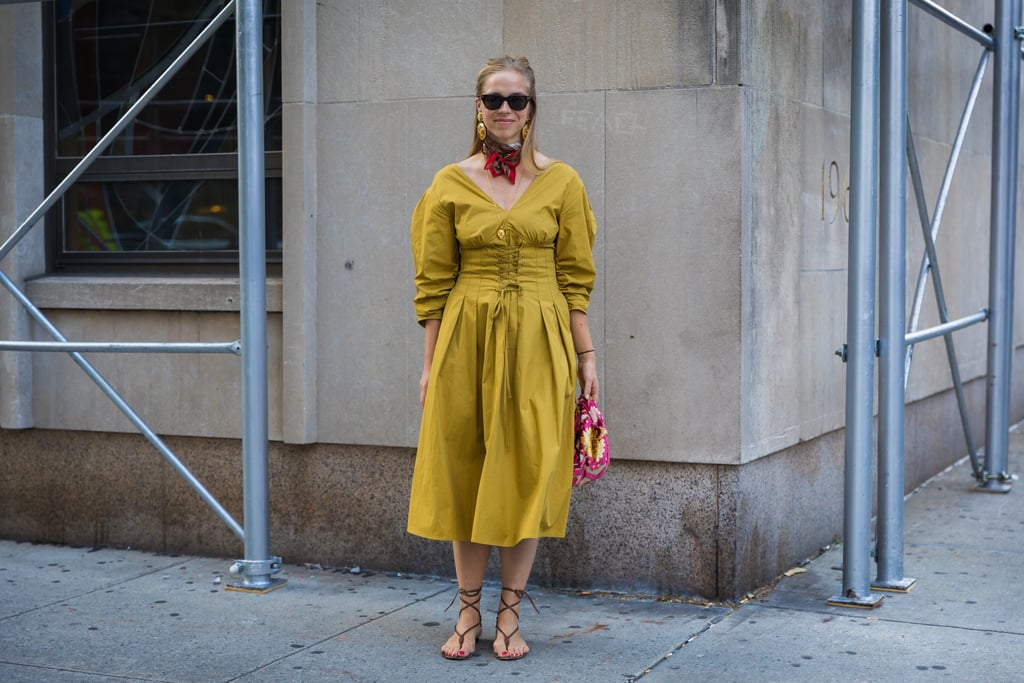 4ad4cc77fce23 Style a Yellow Dress With a Red Neck Scarf   Mustard Yellow Color ...