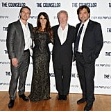Michael Fassbender, Penélope Cruz, Ridley Scott, and Javier Bardem attended the London screening of The Counselor.