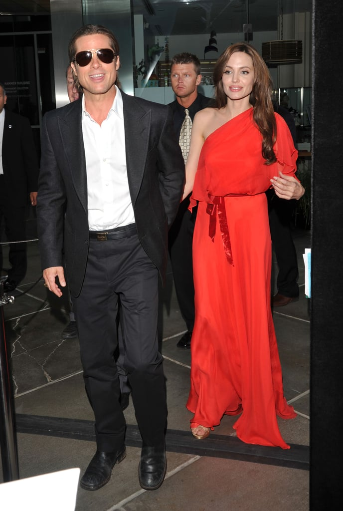 Brad Pitt and Angelina Jolie were one sexy duo at the LA premiere of The Tree of Life tonight. Brad showed off his clean shaven face and accentuated his tan with an unbuttoned shirt while Angelina looked gorgeous in a one-shoulder Jenny Packham gown. It was the couple's second red carpet this week after stepping out together for Angelina's Kung Fu Panda 2 event on Sunday. Their four oldest kids joined them for the screening of Angelina's animated feature, but it looks like this evening's outing was adults only. Brad and Angelina have been making the rounds for both of their films since kicking off press in Cannes earlier this month. Angelina's costar, Jack Black, took care of promotions solo with an appearance in NYC today, so that Angelina could stay on the West Coast to support her man's project, which picked up the top prize at the Cannes Film Festival.