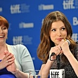 Bryce Dallas Howard and Anna Kendrick enjoyed a joke during the 50/50 press conference at the Toronto Film Festival.