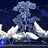 The winged artists danced beside glowing trees.