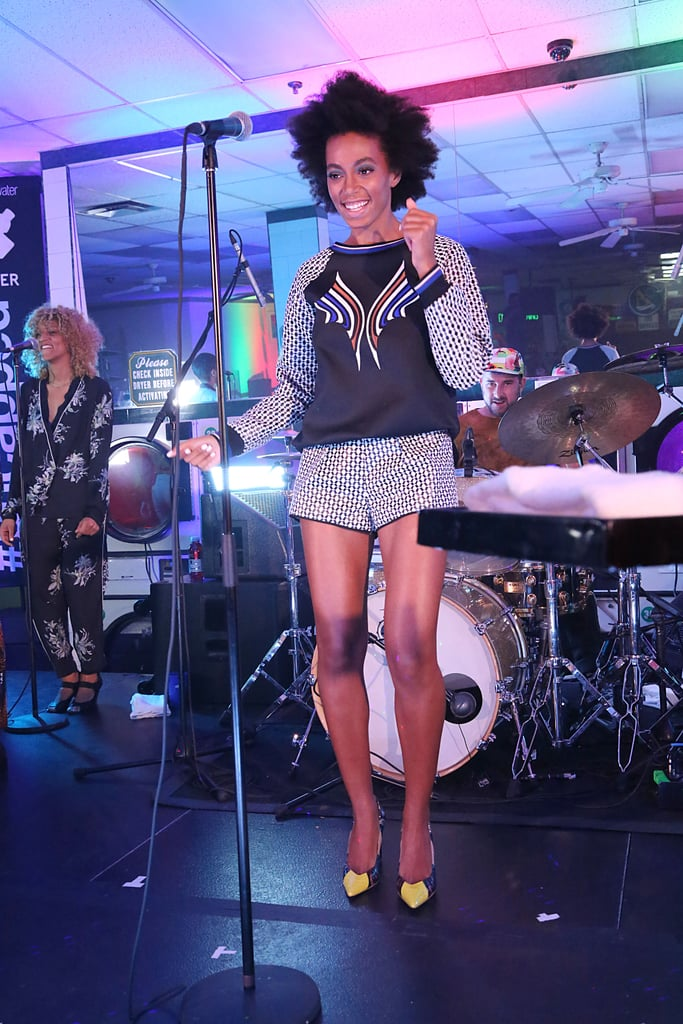 Solange Knowles took the stage in a printed Clover Canyon set and Aldo Rise shoes for Vitaminwater in Brooklyn.