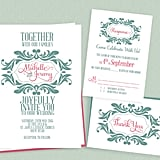 Mint and Pink Stylised Monogram Wedding Invitation