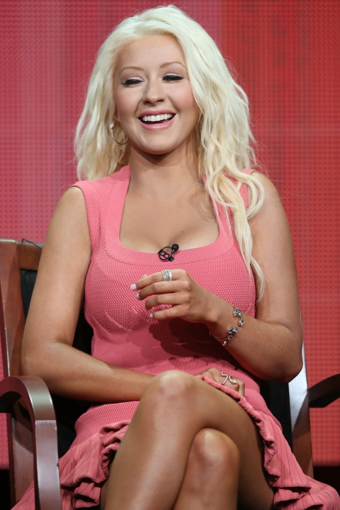 Christina Aguilera laughed while on stage for The Voice.