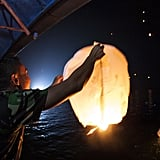 Lanterns were lit and released into the sky in Bintan Island, Indonesia, on New Year's Eve.