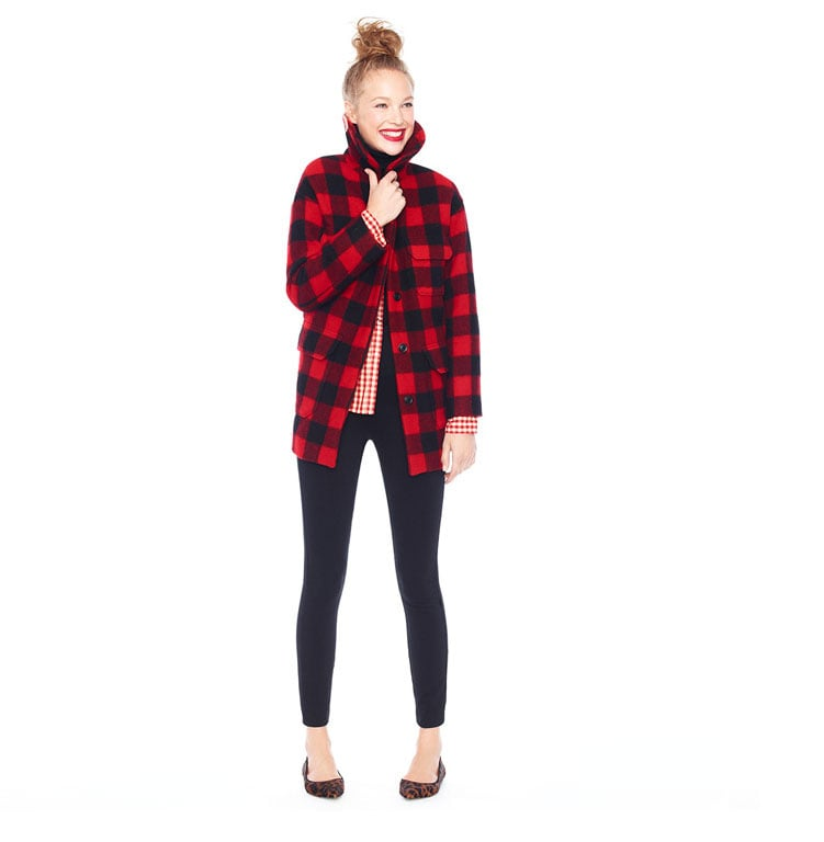 """Embrace seasonal patterns in unexpected ways, like echoing the classic checks in Tartan plaid with checks on your button-down. Sleek bottoms and chic flats offer a smart counter to the heavy plaid, lest you should make any literal references to """"lumberjack"""" styling."""