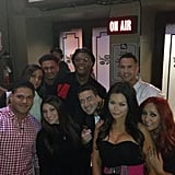 Samuel L. Jackson got chummy with the cast of Jersey Shore backstage at Jimmy Kimmel Live. Source: Twitter user ItsTheSituation