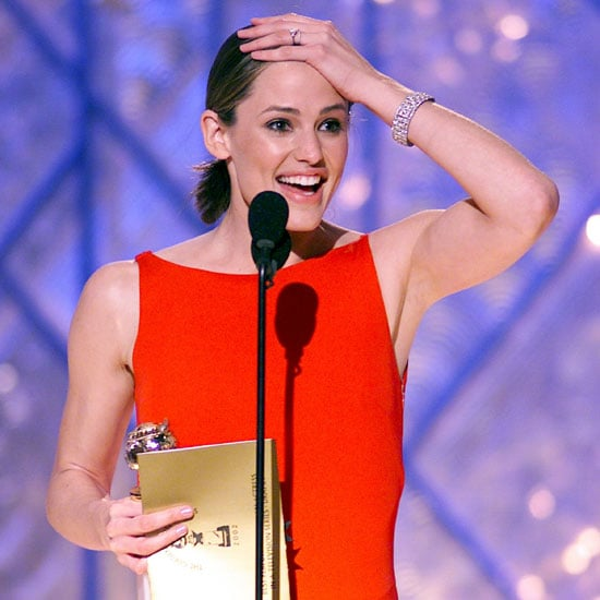 Jennifer Garner was all smiles on the stage at the 2002 Golden Globes to accept the award for best actress for her role in Alias.