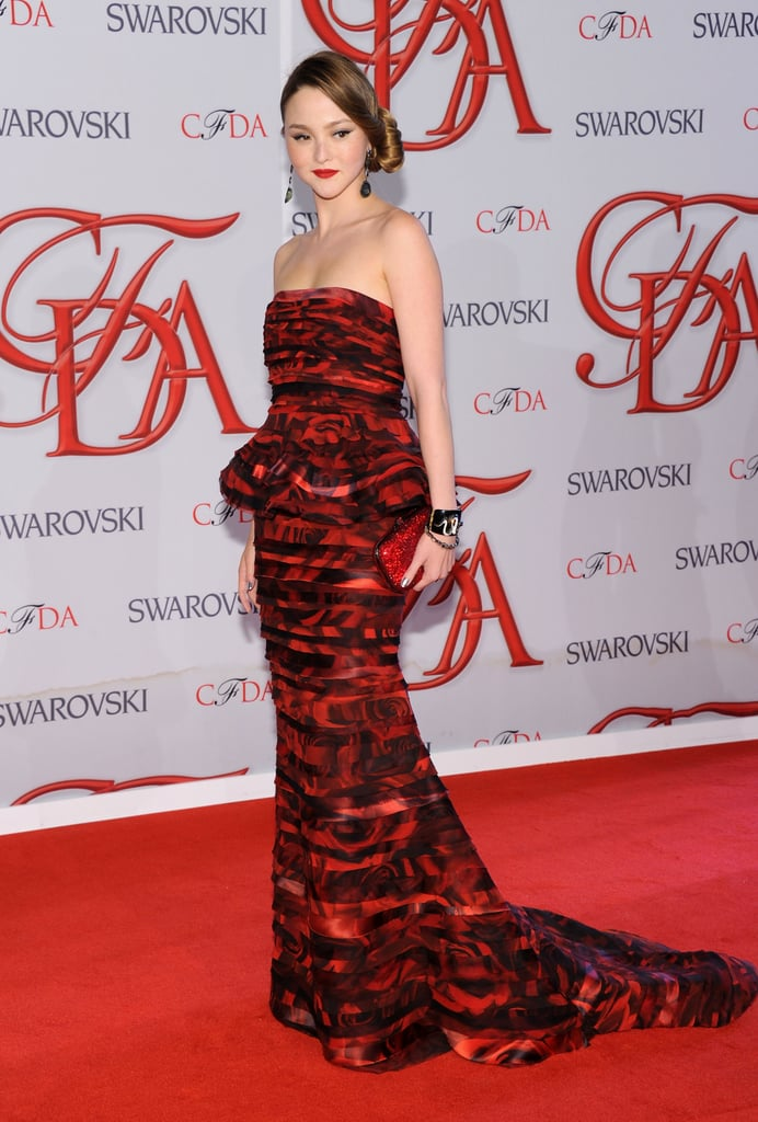 Devon Aoki walked the red carpet in a black-and-red peplum Alice + Olivia gown.