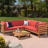 Collins 4-Piece Outdoor Sectional Set With Red Cushions