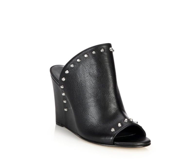 Stuart Weitzman Upfrontal Studded Leather Wedge Mules ($445)