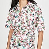 Les Reveries Ruched Skirt Cotton Shirt Dress