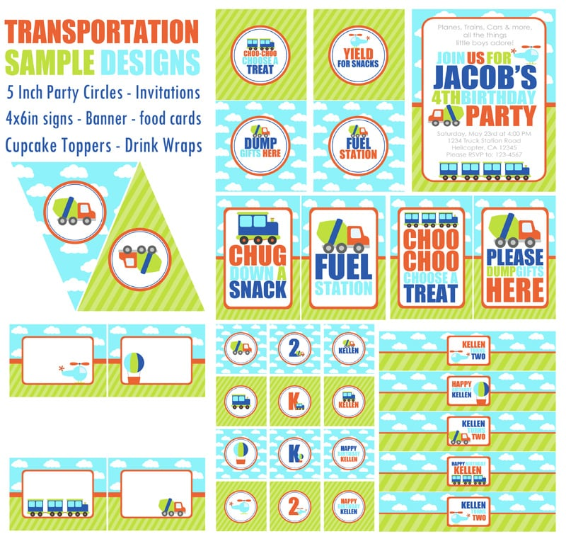 Custom Printables | Transportation-Themed Kids' Birthday ...