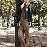 This styler pared down a jumpsuit with a slick leather jacket.