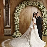 The Bride's Oscar de la Renta Gown Was Complete With an Embroidered Veil